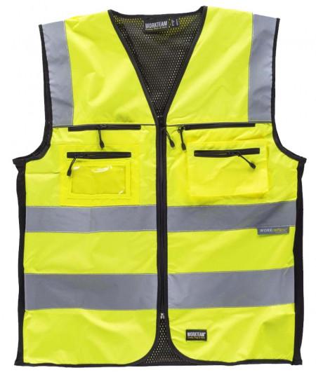 Chaleco de alta visibilidad en tejido Oxford con canesús y cintas reflectantes